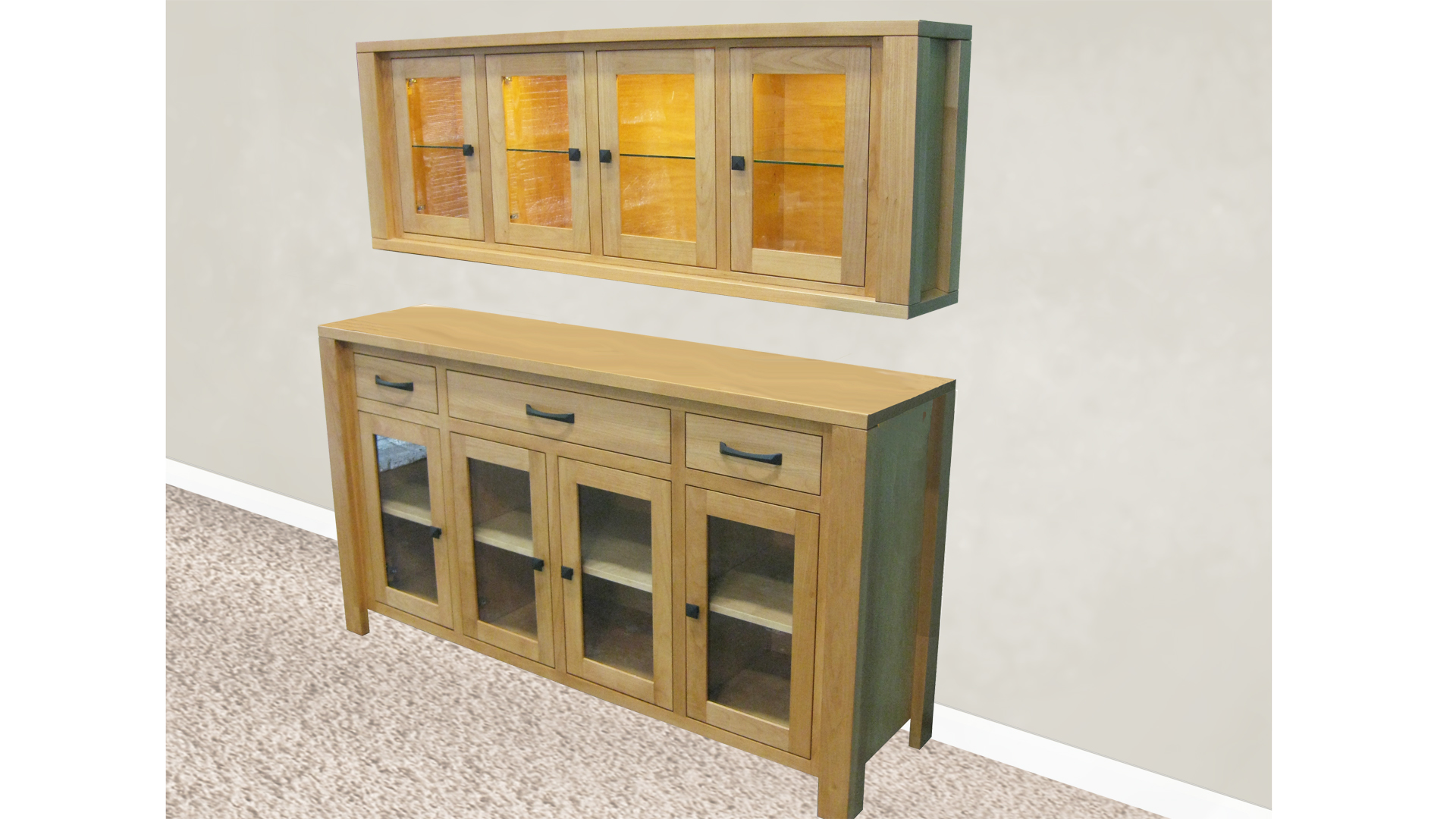 Custom Boxwood Server with Floating hutch