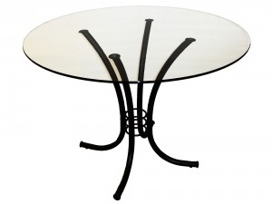 "Erica Table 42"" round glass top welded steel base Canadian made, by Trica"