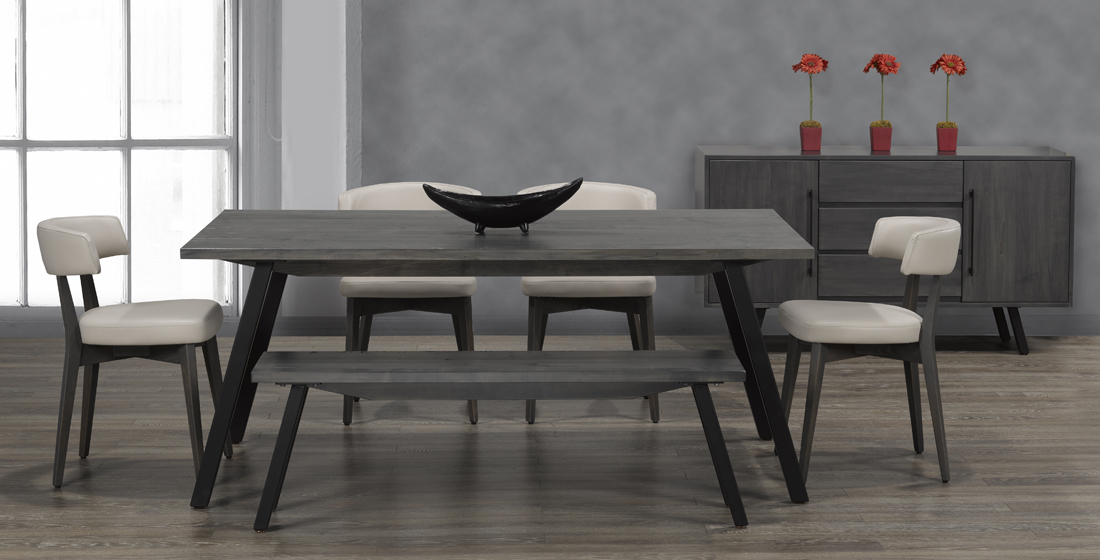 Solid wood and steel table, made in Canada exclusively for Creative Home Furnishings