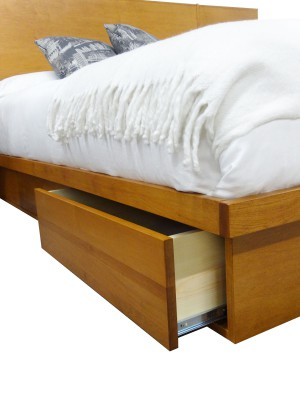 LA Storage bed close up with open drawers - custom made locally built solid wood furniture