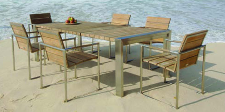 Malta Dining set by Mountain House - outdoor furniture , Stainless steel frame, teak
