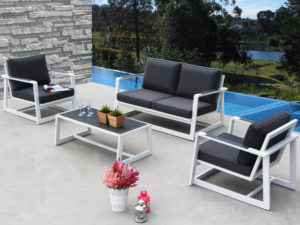 Palm Spring Sofa and Chair set by Mountain House , outdoor furniture, steel, metal frame sofa, chair, coffee table,