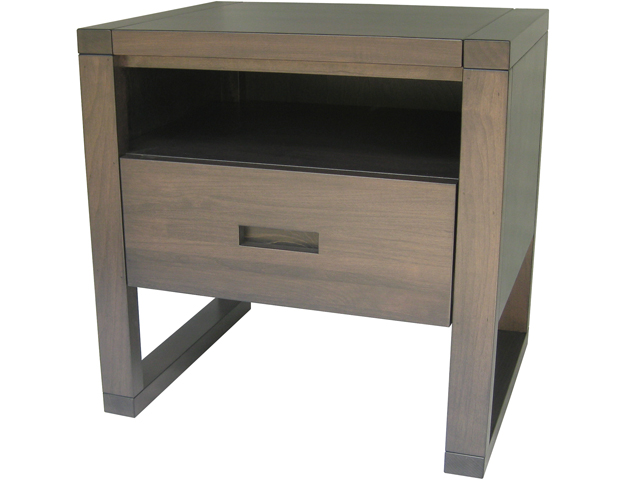 Tangent 1 drawer and cubby nightstand - solid wood, built to order, locally built, Canadian made, custom in-house design furniture