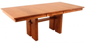 Chesterman solid wood dining table with self storing leaf.