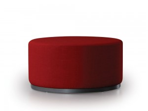 Marshmallow ottoman by Trica, Quebec, welded steel ring base, fully upholstered, Canadian made