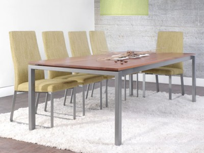 Spazio Dining Table by Trica - welded steel base and custom solid maple top