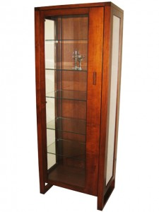 Tangent curio cabinet, exclusive line, built to order solid wood, Canadian made, custom made to order furniture