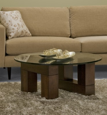 Tangent Round Coffee Table, in-house design, solid wood, custom sizing